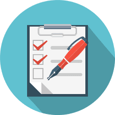 Checklist and pen icon representing answering questions about proposal quality assessment.