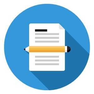 Page of text and pencil icon representing career as a government proposal writer