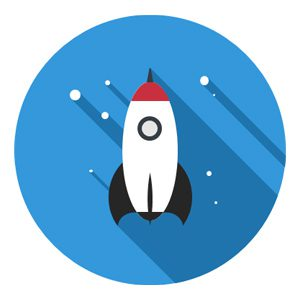 Rocket going to the stars icon representing the value of doing whatever it takes.