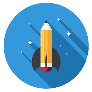 Rocket pencil icon representing career as an OST BD, capture, and proposal consultant