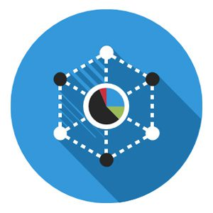 Hexagon with a pie chart icon representing staff cross-training in government BD, capture, and proposals.