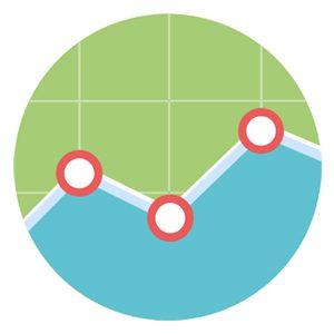 Progress chart icon representing measuring skill progress in BD, capture, and proposals.